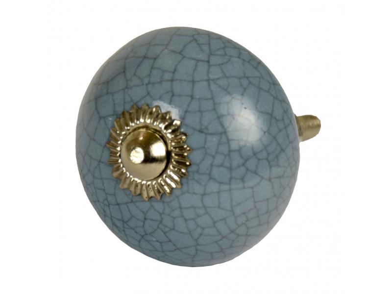 Malovaná porcelánová úchytka na šuplík, šedo-modrá, popraskaný efekt, 4cm