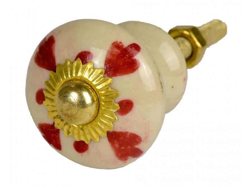 Malovaná porcelánová úchytka na šuplík, bílá, červeně zdobená, zlatý dekor, 3cm