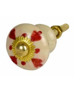 Malované porcelánové madlo na šuplík, bílé, červeně zdobené, zlatý dekor, 3cm