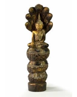 Narozeninový Buddha, sobota, teak, zlatá patina, 26cm