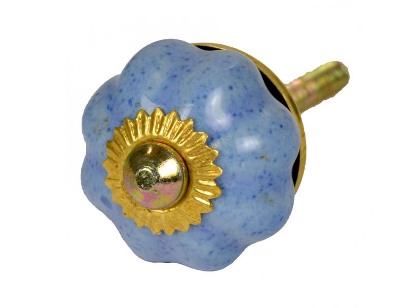 Malovaná porcelánová úchytka na šuplík, modrá, kropenatá, zlatý dekor, 3cm