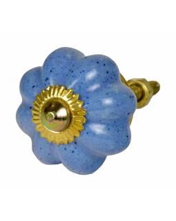 Malované porcelánové madlo na šuplík, modré, kropenaté, zlatý dekor, 3,5cm