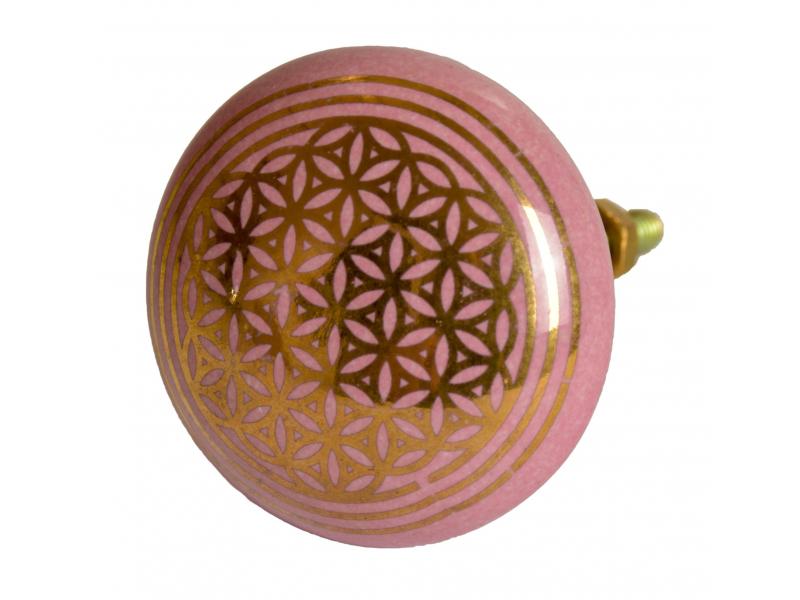 Malovaná porcelánová úchytka na šuplík, růžová, zlatý tisk květ života, 4,3cm