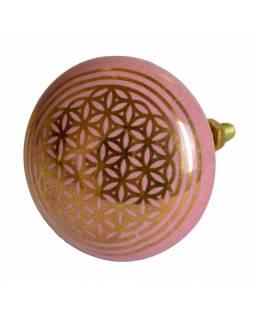 Malované porcelánové madlo na šuplík, růžové, zlatý tisk květ života, 4,3cm
