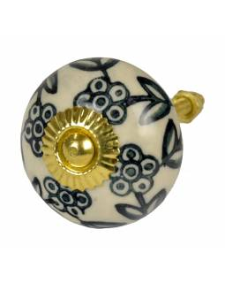 Malovaná porcelánová úchytka na šuplík, bílá, černo-šedé malovaná květy, 4cm