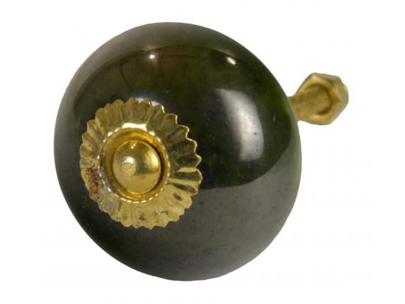 Malovaná porcelánová úchytka na šuplík, tmavě zelená, velmi lesklá, 4cm