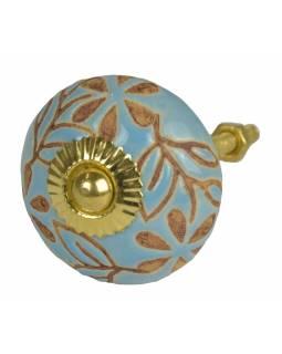Malované porcelánové madlo na šuplík, světle modré, hnědé lístky a květy, 4cm