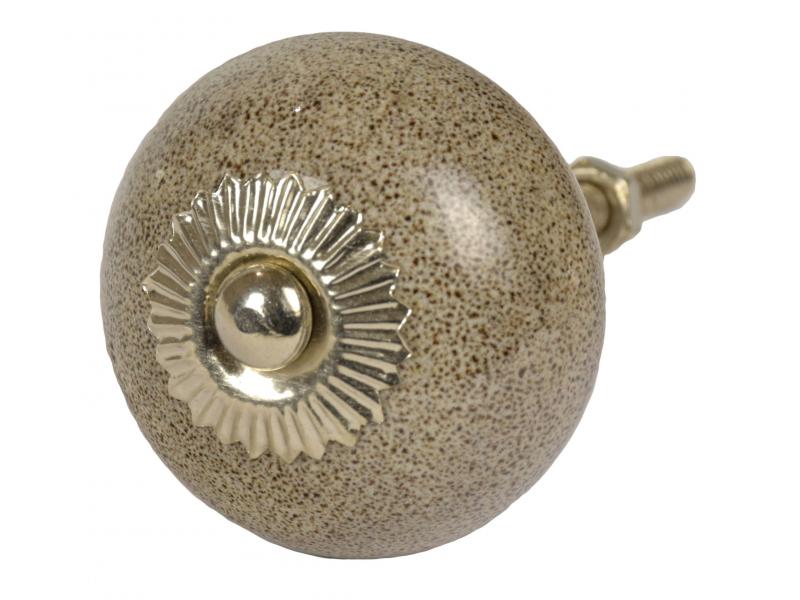 Malované porcelánové madlo na šuplík, pískovcová šedá patina, lesklé 4cm
