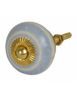Malované porcelánové madlo na šuplík, světle modré pruhy, průměr 3,7cm