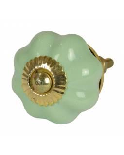 Malované porcelánové madlo na šuplík, světle zelené, tvar květiny, průměr 3,7cm