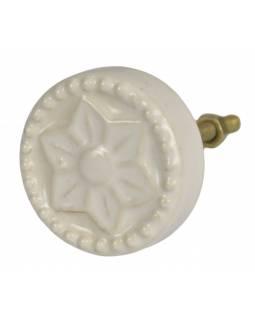 Malované porcelánové madlo na šuplík, bílé, kulaté s květinou, průměr 4,1cm
