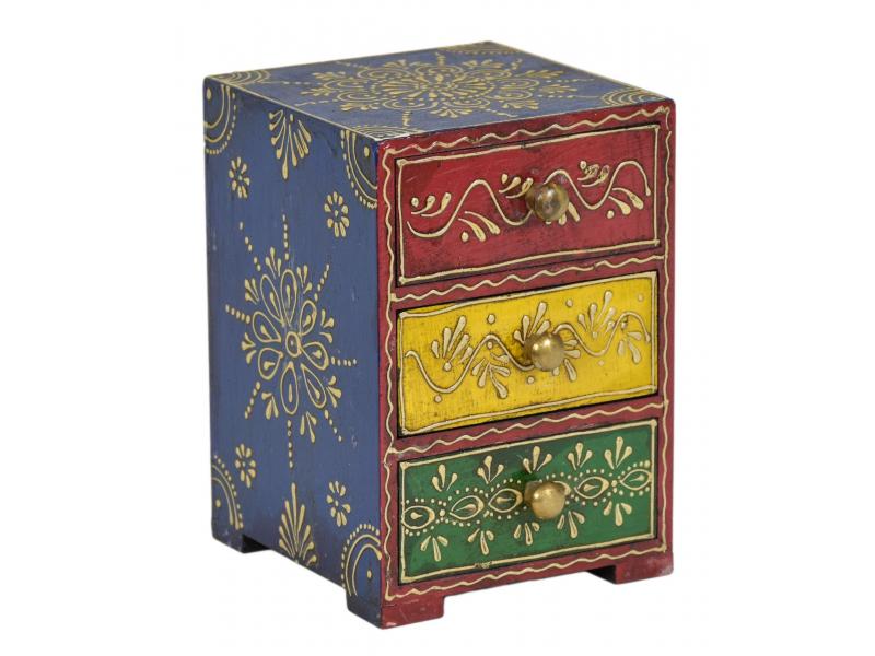 Dřevěná skříňka, ručně malovaná, 3 šuplíky, 12x13x18cm