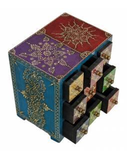 Ručně malovaná dřevěná skříňka s 9 šuplíky, 19x14x22cm