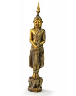 Narozeninový Buddha, neděle, teak, zlatá patina, 26cm