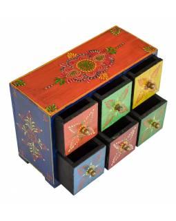 Dřevěná ručně malovaná skříňka s 6 šuplíky, 25x10x18cm