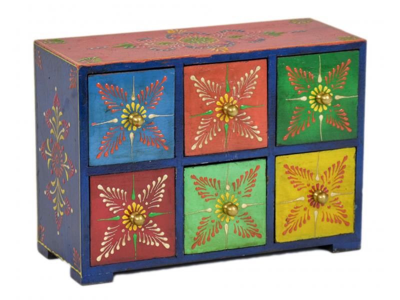 Dřevěná skříňka s 6 šuplíky, ručně malovaná, 25x10x18cm
