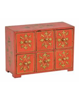 Dřevěná červená skříňka s 6 šuplíky, ručně malovaná, 25x10x18cm