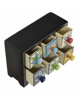 Dřevěná skříňka se 6 keramickými šuplíky, ručně malované, 22x8x17cm