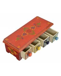 Dřevěná skříňka se 4 keramickými šuplíky, ručně malované, 30x12x10cm