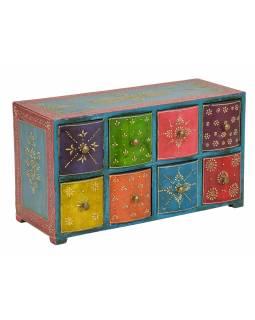 Dřevěná skříňka s 8 šuplíky, ručně malovaná, 46x18x25cm
