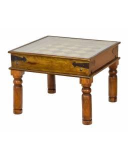 Konferenční stolek z palisandrového dřeva zdobený mosazí, se sklem, 65x65x50cm