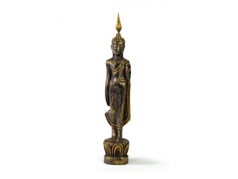 Narozeninový Buddha, pondělí, teak, černo-zlatá patina, 26cm