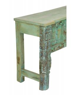 Konzolový stolek z mangového dřeva, tyrkysová patina, 201x43x76cm