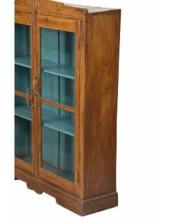 Prosklená skříňka z teakového dřeva, tyrkysová uvnitř, 103x27x128cm