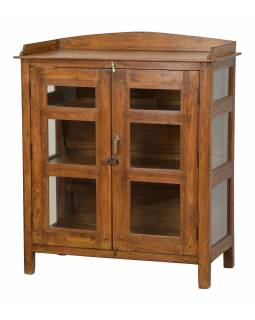 Prosklená skříňka z teakového dřeva, 95x46x118cm