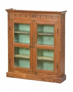 Prosklená skříňka z teakového dřeva, tyrkysová uvnitř, 76x19x90cm