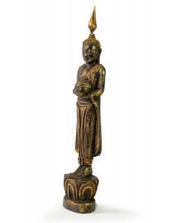 Narozeninový Buddha, středa, teak, černo-zlatá patina, 26cm