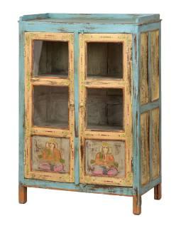 Prosklená skříňka z teakového dřeva, ručně malovaná, 75x40x112cm