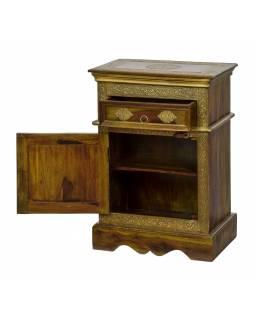 Malá skříňka - noční stolek z palisandrového dřeva s kováním, 45x30x65cm
