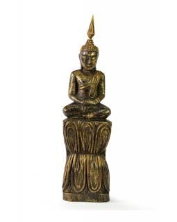 Narozeninový Buddha, čtvrtek, teak, černo-zlatá patina, 26cm