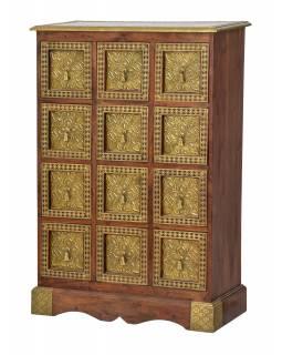 Šuplíková komoda z palisandrového dřeva zdobená mosazí, 75x35x110cm
