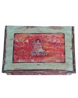 Komodka z teakového dřeva, ručně malovaná, 45x31x31cm
