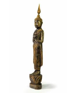 Narozeninový Buddha, pátek, teak, černo-zlatá patina, 26cm