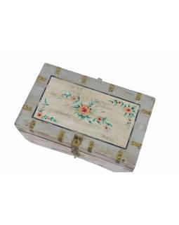 Stará truhla z teakového dřeva, ručně malovaná, 58x35x30cm