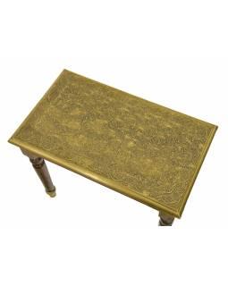 Stolička z palisandrového dřeva s mosazným kováním, 60x30x50cm