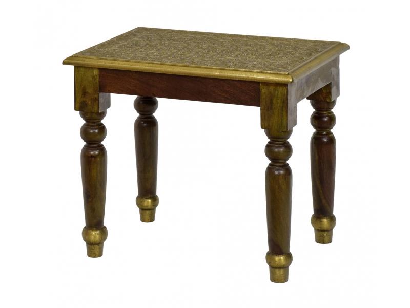 Stolička z palisandrového dřeva s mosazným kováním, 45x32x40cm
