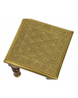 Stolička z palisandrového dřeva s mosazným kováním, 30x30x30cm