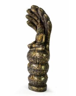 Narozeninový Buddha, sobota, teak, černo-zlatá patina, 26cm
