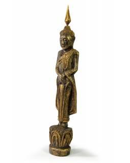 Narozeninový Buddha, neděle, teak, černo-zlatá patina, 26cm