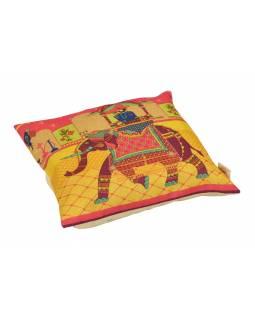 Povlak na polštář, krémový, Mahárádža na slonu, 40x40cm