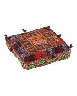 Meditační polštář, ručně vyšívaný patchwork, čtverec, 40x40x10cm
