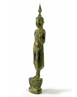 Narozeninový Buddha, pondělí, teak, zelená patina, 26cm