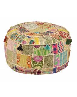 Taburet, Rajasthan, patchwork, Ari bohatá výšivka, béžový podklad, 56x56x30cm
