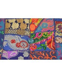 Taburet, Rajasthan, patchwork, Ari bohatá výšivka, modrý podklad, 56x56x33cm