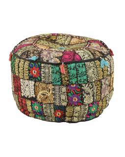 Taburet, Rajasthan, patchwork, Ari bohatá výšivka, černý podklad, 56x56x33cm