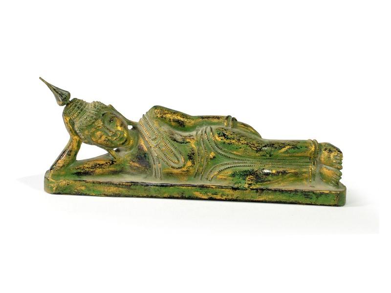Narozeninový Buddha, úterý, teak, zelená patina, 26cm